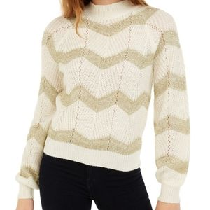 NWT Planet Gold Ivory And Gold Stripe Sweater M